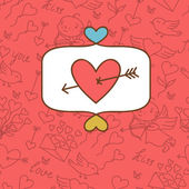 Valentine's day love postcard with hand drawn doodles. — Vecteur