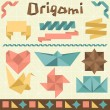 Retro origami set with design elements. — Stock Vector