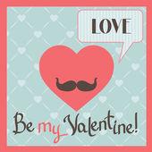 Carte de voeux saint valentin vintage avec cœur et moustache. — Vecteur
