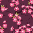 Stock Vector: Cherry blossom seamless flowers pattern.
