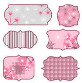 Cherry blossoms design elements, labels and stickers. — Stock Vector