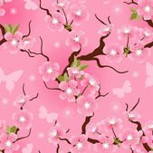 Cherry blossom seamless flowers pattern. — Stock Vector