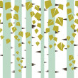 Seamless vector texture with green trees of birch. - Stock Vector
