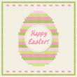 Happy Easter embroidery cross-stitch greeting card. — Stock Vector