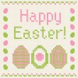 Happy Easter embroidery cross-stitch greeting card. — Stock Vector #18720597