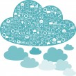 Social network clouds backgrounds of SEO internet icons. - Vettoriali Stock