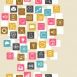 Social network background of SEO internet icons. - Stockvektor