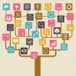 Social network tree background of SEO internet icons. - Stok Vektr