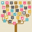 Social network tree background of SEO internet icons. — Stock Vector