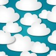 Seamless background with paper clouds. - Stock Vector