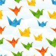 Origami paper birds flight abstract background. — Stock Vector