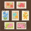 Vector postage stamps set. Flower collection. - Stock Vector