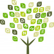 Tree background of eco web icons. - Stockvectorbeeld