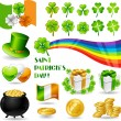 Stock Vector: Collection illustrations of Saint Patrick's Day symbols.