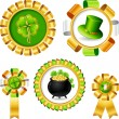 Stock Vector: Award ribbons with Saint Patrick's day objects.