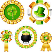 Award ribbons with Saint Patrick's day objects. — Stock Vector