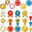 Blank award ribbon rosettes - Stock Vector