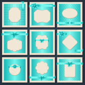 Vintage patterned cards with gift bows and ribbons. — Stock Vector