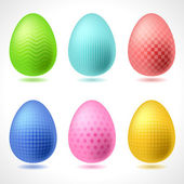 Set of 6 vector patterned Easter Eggs. — Stock Vector