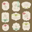 Set of Easter labels, tags with bows and ribbons. — Vector de stock