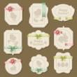 uppsättning påsk etiketter, märken med bågar och band — Stockvektor
