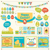 Set of Happy Easter ornaments and decorative elements. — Stok Vektör