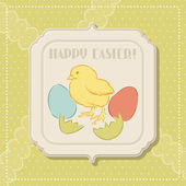 Happy Easter retro greeting card. — Stock Vector