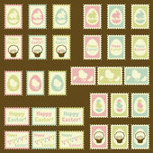 Happy Easter postage retro set. — Stock Vector