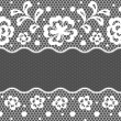 Lace fabric seamless border with abstact flowers. - Stok Vektör