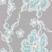 Lace fabric seamless pattern with abstact flowers. — Stock Vector