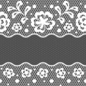 Lace fabric seamless border with abstact flowers. — Stock Vector