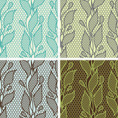 Set of lace seamless patterns with abstact flowers. — Stockvektor