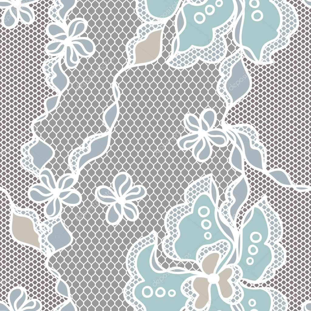Lace fabric seamless pattern with abstact flowers — Stock