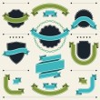 Set of retro badges, labels, ribbons and design elements. — Stock Vector