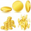 Stock Vector: Collection of illustrations, icons and gold coins.