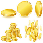 Collection of illustrations, icons and gold coins. — Stock Vector