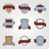Vintage heraldry shields and ribbons retro style set. — Stock Vector