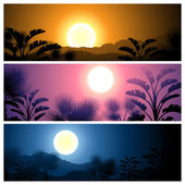 Tropical banners set landscape, sun, moon and palm trees. — Stock Vector