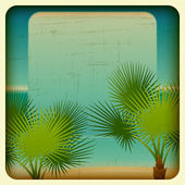 Retro background with seaside and palm trees. — Stock Vector