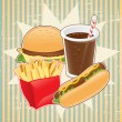 Retro background with fast food. — Imagens vectoriais em stock