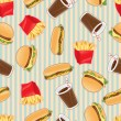 Stock Vector: Fast food seamless pattern background