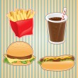 Fast food icon of burger, french-fry and drink. — Imagens vectoriais em stock