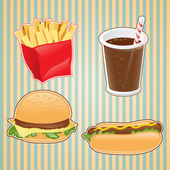Fast food icon of burger, french-fry and drink. — Stock Vector