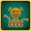 Stock Vector: Card in retro style with the robot.