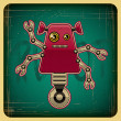 Card in retro style with the robot. — Stock Vector