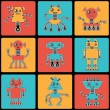 Cartoon robots seamless pattern. - Stock Vector