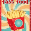 Fast food background with french fries in retro style. — Stock Vector