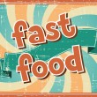 Fast food background in retro style. — Stock Vector