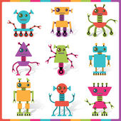 Little abstract robot doodle collection. — Stock Vector