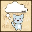 Kawaii card with cute cat on the grunge background. — Grafika wektorowa